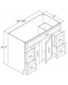 Vanities with Drawers 48 60-Shaker White